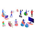 people playing video games using gadgets isometric vector image vector image
