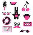 pink and black fun patches stickers vector image vector image