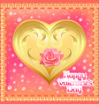postcard a golden heart with a rose vector image vector image