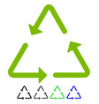 recycling triangle flat icon vector image vector image