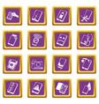 repair phones fix icons set purple square vector image vector image