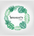 round frame with tropical palm leaves exotic vector image vector image