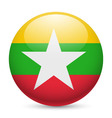 Round glossy icon of myanmar vector image vector image