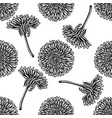 seamless pattern with black and white dandelion vector image vector image