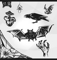 set of halloween element halloween party sign vector image