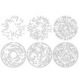 set of radiating and concentric lines element vector image