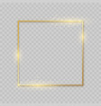 shiny square golden frame decoration border with vector image