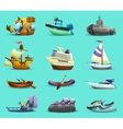 Ships And Boats Icons Set vector image vector image