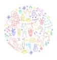 sketchy hand drawn doodle cartoon set of vector image vector image