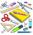stationery for school and student notebook vector image vector image