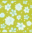 tropical green blue flowers seamless repeat vector image vector image