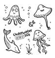 underwater cratures set in doodle style vector image vector image