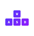 wasd keys game control keyboard buttons gaming vector image