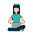 woman with laptop computer avatar character vector image vector image