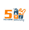 5 years gift box ribbon anniversary vector image vector image