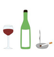 a bottle a wine glass and a burning cigarette vector image vector image