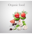 Background with fresh vegetables tomatoes vector image