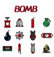 Bomb flat icon set vector image