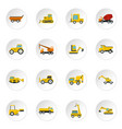 building vehicles icons set in flat style vector image vector image