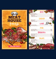 butchery products meat house menu vector image vector image