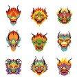 chinese dragon heads set chinese new year symbol vector image vector image