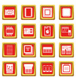 computer chips icons set red vector image vector image