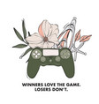console gamepad electronic devise with floral vector image vector image