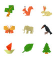 create origami icons set cartoon style vector image
