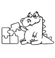 cute dragon is played and assemble the puzzle vector image