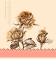 cute pink floral invitation hand drawn roses vector image