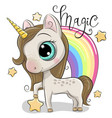 cute unicorn and a rainbow isolated on a white vector image
