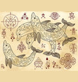 design set with dolphins and mystical symbols vector image