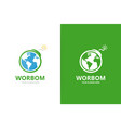 earth and bomb logo combination globe vector image