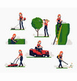 female gardener at work vector image vector image