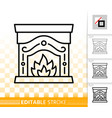 fireplace simple black line burn fire icon vector image
