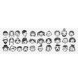 hand drawn human faces doodle set vector image vector image