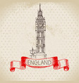 hand drawn sketch england vintage background vector image