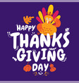 happy thanksgiving autumn typography vector image vector image