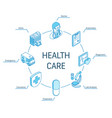 health care isometric concept connected line 3d vector image