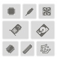 icons with computer hardware and components vector image