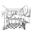 Kitchen interior drawing vector image vector image