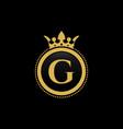 letter g royal crown luxury logo design vector image vector image