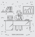 office man business man thin line icon for web an vector image