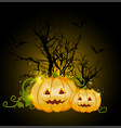 orange pumpkins and silhouette of tree vector image vector image