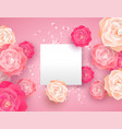 Pink spring flower card template with copy space