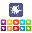 powerful explosion icons set flat vector image vector image