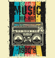 retro party 90s colored poster with boombox vector image vector image