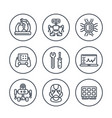 robotics mechanical engineering robots icons vector image vector image