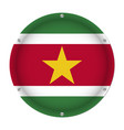 round metallic flag of suriname with screws vector image