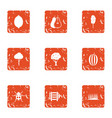 savory icons set grunge style vector image vector image